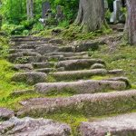春日山城の城内にある林泉寺。上杉謙信の墓への階段。